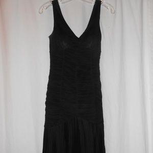 Sue Wong 4 silk little black dress LBD Pleated